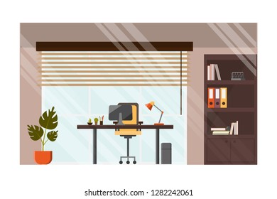 Modern Office, Company Leader Cabinet, Corporate Workplace Interior Flat Vector with Comfortable Armchair near Work Desk, Jalousie on Window, Paper Binders on Rack and Plant in Flowerpot Illustration