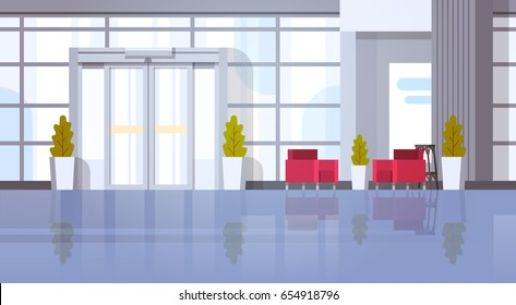 Modern Office Hall Building Waiting Room Interior Flat Design Vector Illustration