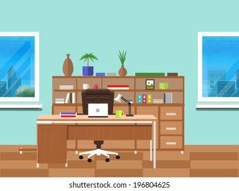Modern office interior with designer desktop in flat design. Modern business workspace in the office with window
