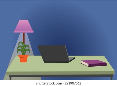 Modern office interior Desk with Laptop in the office and office furniture. Isolated on stylish coloured background