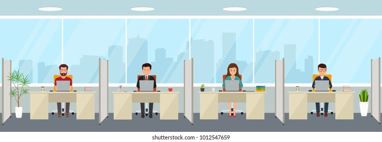 Modern office interior with employees. Creative office workspace