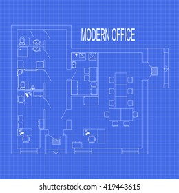 Blueprint floor plan modern apartment on vector de stock399209836 modern office interior with furniture on graph paper vector blueprint malvernweather Gallery