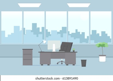 Modern office interior. Vector cartoon image