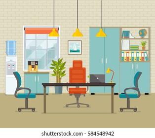 Modern office interior. Vector flat illustration