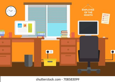 Modern Office Interior. Vector Flat Style.Workplace Empty Chair Desk Flat Vector Illustration, EPS10