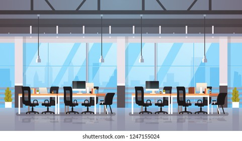 modern office interior workplace desk creative co-working center workspace cityscape background flat horizontal