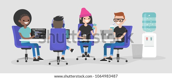 Modern office. International team of young employees working on their laptops and discussing the project / flat editable vector illustration, clip art. Millennials at work.