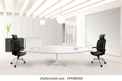 Modern office room with a table