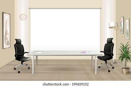 Modern Office Room Inside Modern Office Room With Table And White Screen Office Room Stock Vector royalty Free 251704573 Shutterstock