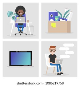 Modern office set. Collection of business images. Millennials at work. Characters and objects. Flat editable vector illustration, clip art