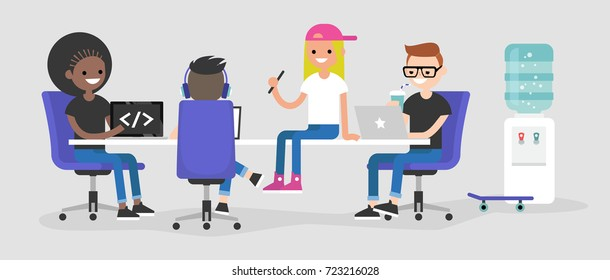 Modern office. A team of millennial employees working on their laptops and discussing the project / flat editable vector illustration, clip art