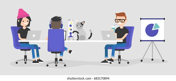 Modern office. A team of young employees working on their laptops / flat editable vector illustration, clip art