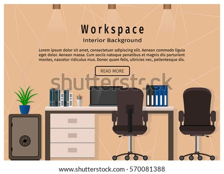 Modern Office Workspace Workplace Organization Concept Stock Vector