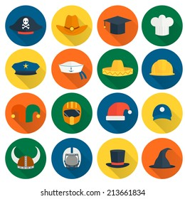Modern and old caps flat icons set with policeman builder chef hats isolated vector illustration