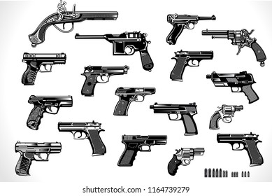 Modern  and old Guns: revolver and pistol