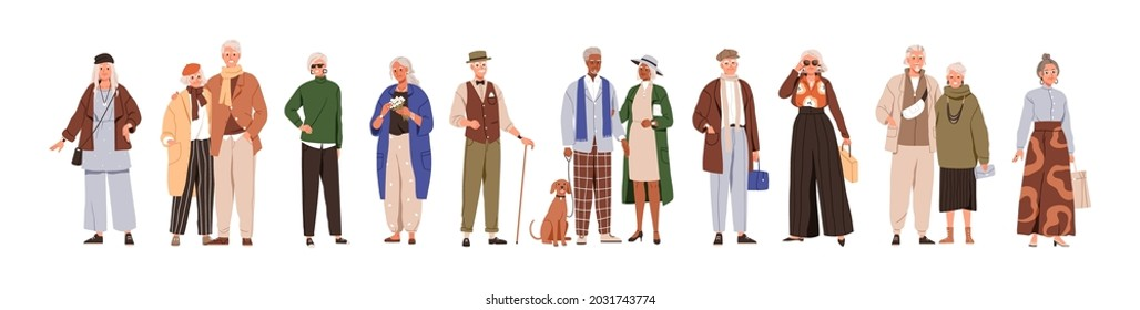 Modern old people and senior couples set. Stylish elderly man and woman in fashion casual clothing. Happy aged person in fashionable outfit. Flat vector illustration isolated on white background