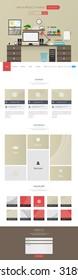 Modern One page Flat Website Template Design Vector