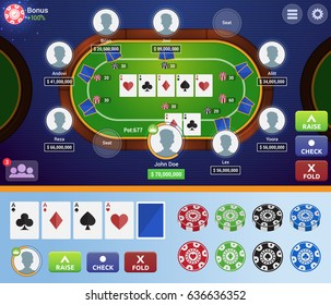 Modern Online Poker Table Game User Interface