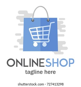Modern Online Shop Logo/emblem template with shopping bag and cart. Click store. For business