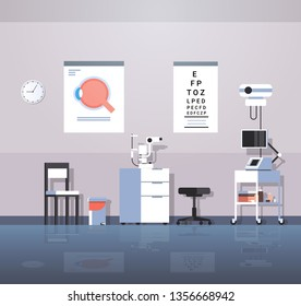 modern ophthalmologist office interior design empty no people oculist medical consultation cabinet with furniture and equipment flat horizontal