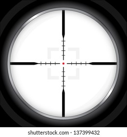 modern optic crosshair with red dot / vector illustration