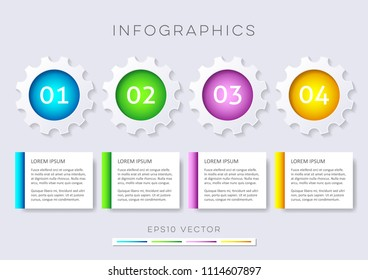 Modern options banners infographic vector design gear wheels