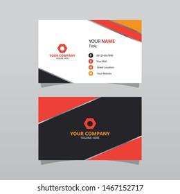 Modern orange bussines card template. Elegant element composition design with clean concept.