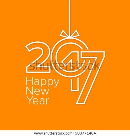 modern orange new year card