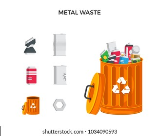 Modern Orange Recycle Metal Waste Garbage Bin And Trash Object Illustration Set, Suitable For Illustration, Book Graphics, Icons, Game Asset, And Other Recycle Related Activities.