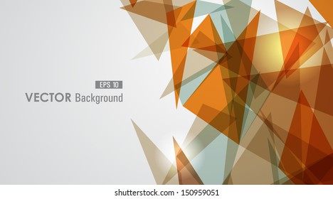 Modern orange transparent triangles abstract background illustration. EPS10 vector with transparency organized in layers for easy editing.