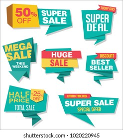 Modern origami sale stickers and tags collection