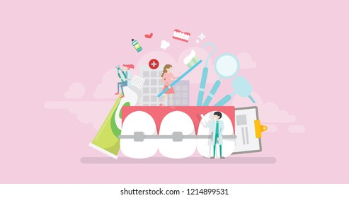 Modern Orthodontics Treatment Care Dentistry Clinic Tiny People Character Concept Vector Illustration, Suitable For Wallpaper, Banner, Background, Card, Book Illustration, And Web Landing Page