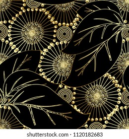 Modern otnate floral vector 3d seamless pattern. Abstract ornamental flourish background. Beautiful gold 3d dandelion  flowers, big leaves, vintage decorative ornaments. Surface endless texture.