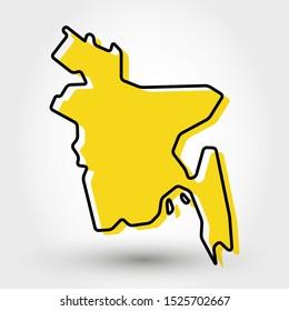 modern outline map of Bangladesh
