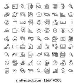 Modern outline style banking icons collection. Premium quality symbols and sign web logo collection. Pack modern infographic logo and pictogram. Simple money pictograms on a white background.