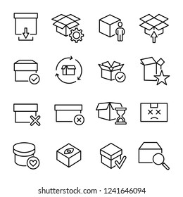 Modern outline style box icons collection. Premium quality symbols and sign web logo collection. Pack modern infographic logo and pictogram. Simple package pictograms on a white background.