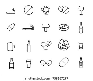 Modern outline style drug icons collection. Premium quality symbols and sign web logo collection. Pack modern infographic logo and pictogram. Simple addiction pictograms.