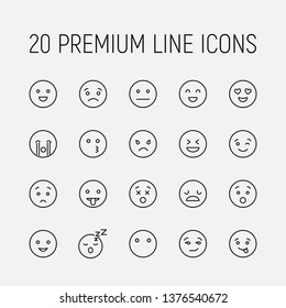 Modern outline style emoji icons collection. Premium quality symbols and sign web logo collection. Pack modern infographic logo and pictogram. Simple emoticons pictograms