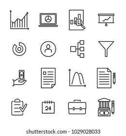Modern outline style freelance icons collection. Premium quality symbols and sign web logo collection. Pack modern infographic logo and pictogram. Simple business pictograms.