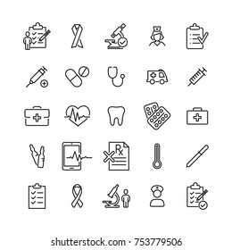 Modern outline style healthcare icons collection. Premium quality symbols and sign web logo collection. Pack modern infographic logo and pictogram. Simple medical pictograms.