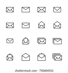 Modern outline style mail icons collection. Premium quality symbols and sign web logo collection. Pack modern infographic logo and pictogram. Simple e-mail pictograms.
