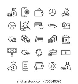 Modern outline style money icons collection. Premium quality symbols and sign web logo collection. Pack modern infographic logo and pictogram. Simple finance pictograms.