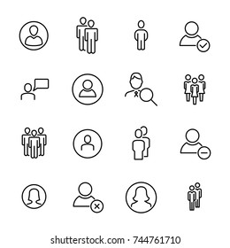 Modern outline style people icons collection. Premium quality symbols and sign web logo collection. Pack modern infographic logo and pictogram. Simple user pictograms on a white background.
