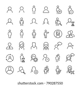 Modern outline style person icons collection. Premium quality symbols and sign web logo collection. Pack modern infographic logo and pictogram. Simple people pictograms on a white background.