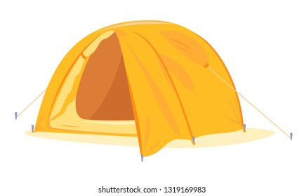 Modern oval orange tourist tent standing with open tent vestibule isolated, camping equipment travel illustration