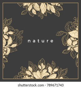 Modern packaging template with different texture for luxury product Art line design organic tea Symbol nature card of mate branch with sketch of leaf, flower Trendy geometric frame in square Vector