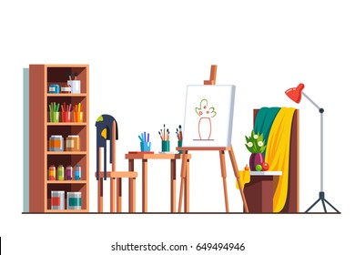 Modern painter artist workshop room with canvas, easel, paints, brushes, table, chair, standard lamp and wooden cupboard. Art drawing design studio furniture. Flat style vector isolated illustration.