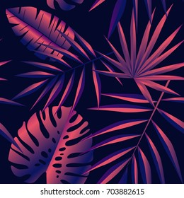 Modern palm leaves print pattern. Vector illustration. Pink and violet