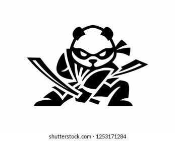 Modern panda logo ninja illustration. flat design samurai panda