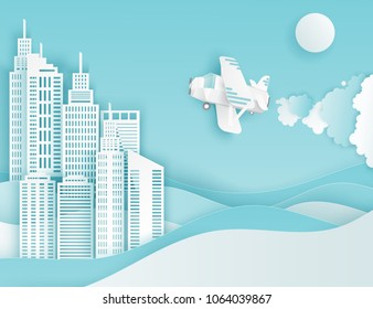 Modern paper art clouds, airplane, sun and city skycrapers. Cute cartoon fluffy clouds and waves. Pastel colors. Origami style